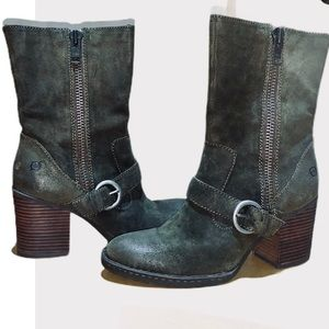 BORN 'Camryn' Distressed Leather Suede Boots Sz 10